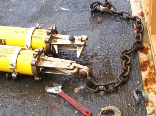 The acoustic release, one year after being sent 13,000 ft to the bottom of the ocean.  Scientists sent a signal to this release to let go of one side of the chain.  Should one release fail, they could trigger the other release.