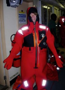 NOAA Teacher at Sea, Miriam Hlawatsch, dons a survival suit