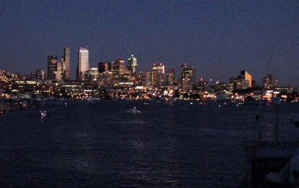 The Seattle skyline at night