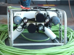 The front of the ROV showing spot lights and camera arrays.
