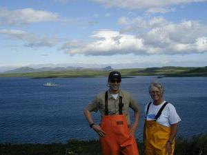 TAS Peterson with Lt. Ben Evans atop Olga Island.