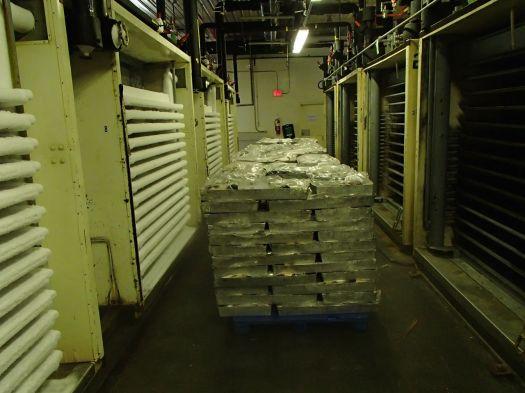 Frozen aisle at fish factory