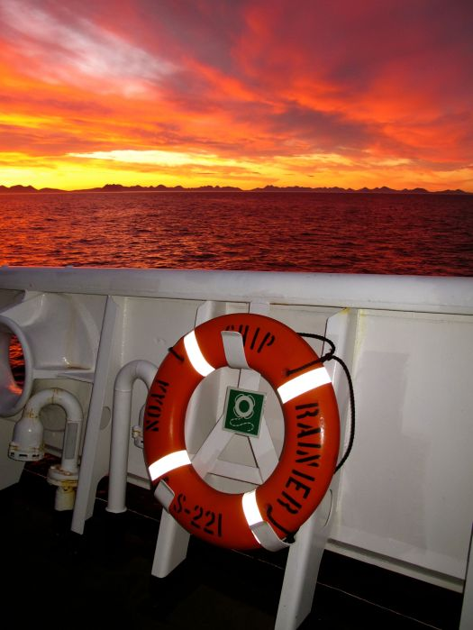 The most striking sunset of our voyage.