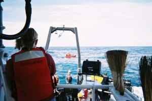 Stringham photographing tsunami buoy recovery.