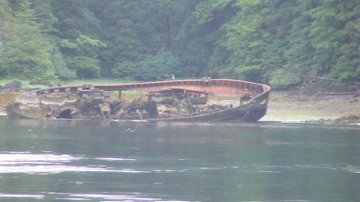 The remains of less successful vessel while navigating the area.  I was told that this was once a tugboat.