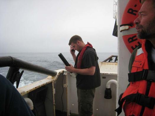 Biologist Chris Grandin prepares to launch an XBT