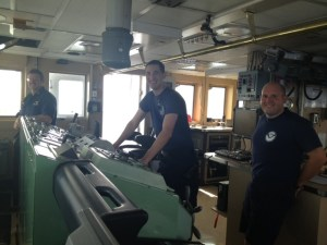 Teamwork: NOAA Corps officers on the bridge