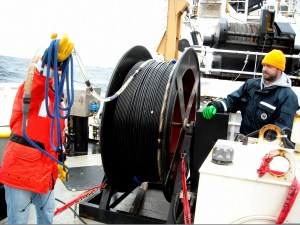 The hydrophone array is stored on a winch which is used to bring it on and off the ship.