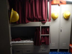 The bunks in the stateroom