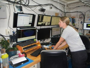 Senior Survey Technician Sam monitors the seafloor mapping data