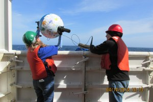 Sending the second Drifter Buoy over the side of the ship.