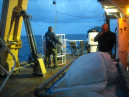 Chief Electronics Technician Richard Conway and Chief Boatswain Tyler Sheff prepare for a dawn launch of the CTD