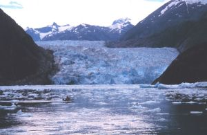 Sawyer Glacier in Tracy Arm, showing the very blue ice.  Photo provided by personnel of the NOAA ship John N. Cobb