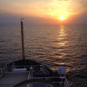 Sunrise on the top deck of the Pisces.
