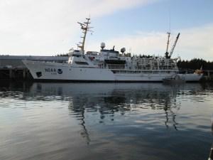 NOAA Ship Rainier at the Coast Guard Base in Kodiak, AK.