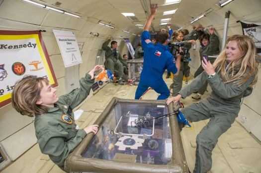 Experimenting in microgravity with Kaci Heins photo from NASA
