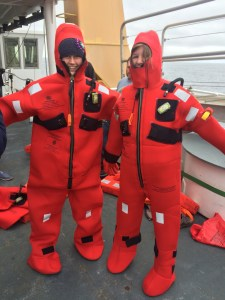 Emily and I managed to get the survival suits on!