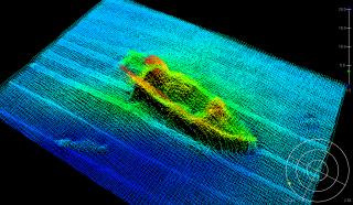 Sonar picture of a ship wreck Todd mapped out.