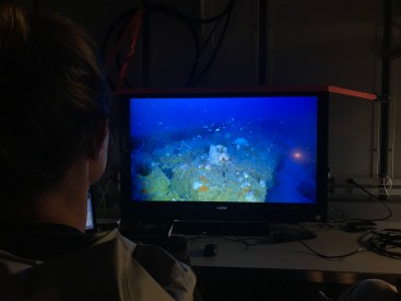 Stacey Harter, the chief scientist and fisheries ecologist, along with LT Felicia Drummond, seen from behind in this image, monitored the video footage and recorded and observed species such as barracuda, lionfish and gag fishes.