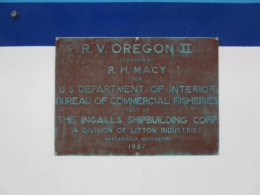 Plaque aboard Oregon II