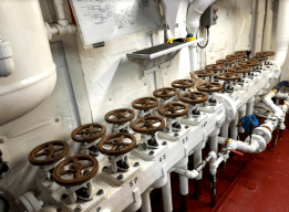 Valves for the ship's fuel tanks.