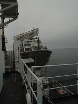 Launch boat on a davit
