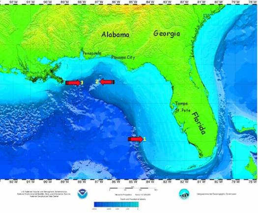 Bathymetric map of the Gulf of Mexico