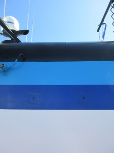 Painted stripes in various shades of blue.
