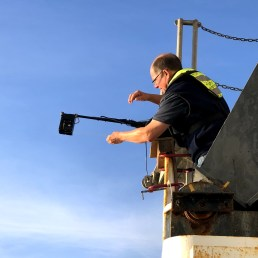 Scientist Steve de Blois setting up one of the down riggers