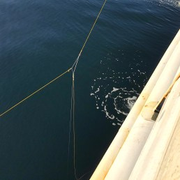 "The three-line triangle shape is used to maneuver the ""magic sphere"" below the boat during calibration"