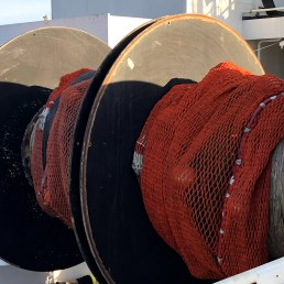 Two of the nets we will be using to catch hake and other organisms. Each net has different size liners which we will be testing.