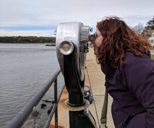 Teacher at Sea Anne Krauss looks out at the ocean.