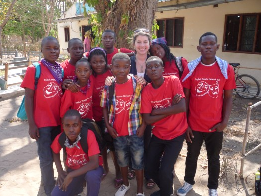 Lona Hall and students in Mozambique