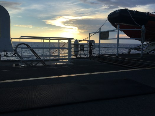 view of deck with sunset