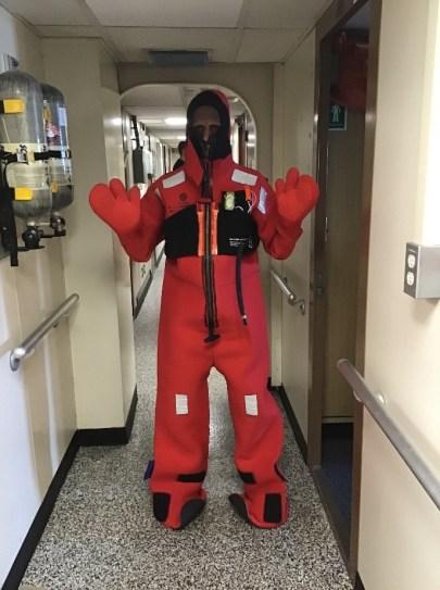 Kannan in survival suit