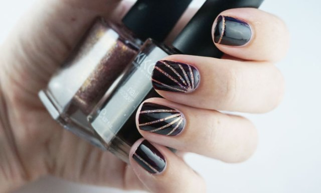 Nails with nail art using striping tape and holo nail polish