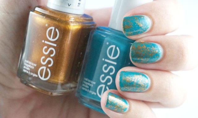 Saran wrap nail art done with two essie nail polishes