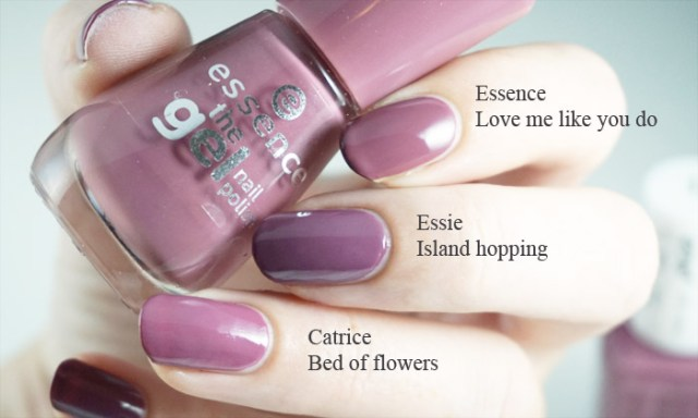 Comparison swatches of Essie island hopping with Essence love me like you do and Catrice bed of flowers
