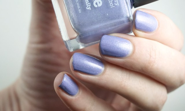 Swatch of Picture polish Eerie, a light purple nail polish with a holographic finish