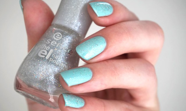 swatch of essence crashed the party over Essie's blossom dandy
