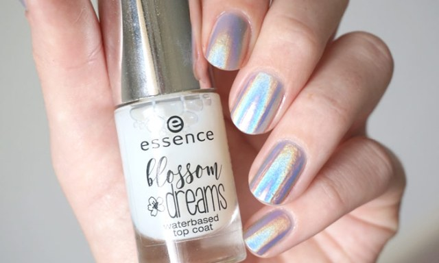 Essence blossom dreams waterbased top coat combined with Dance legend Mirage holographic powder
