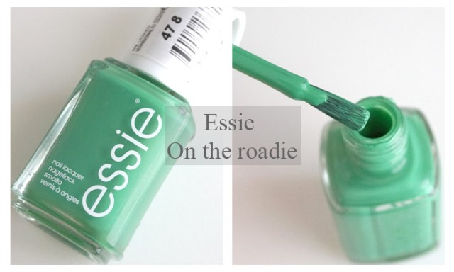 bottle and brush of Essie on the roadie