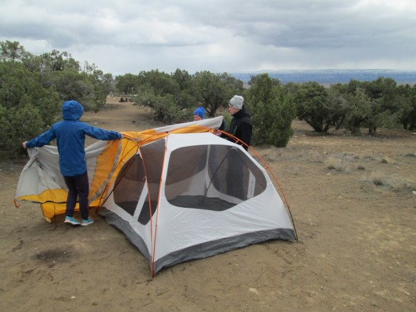 Cold Setting Up Tent in Fruita