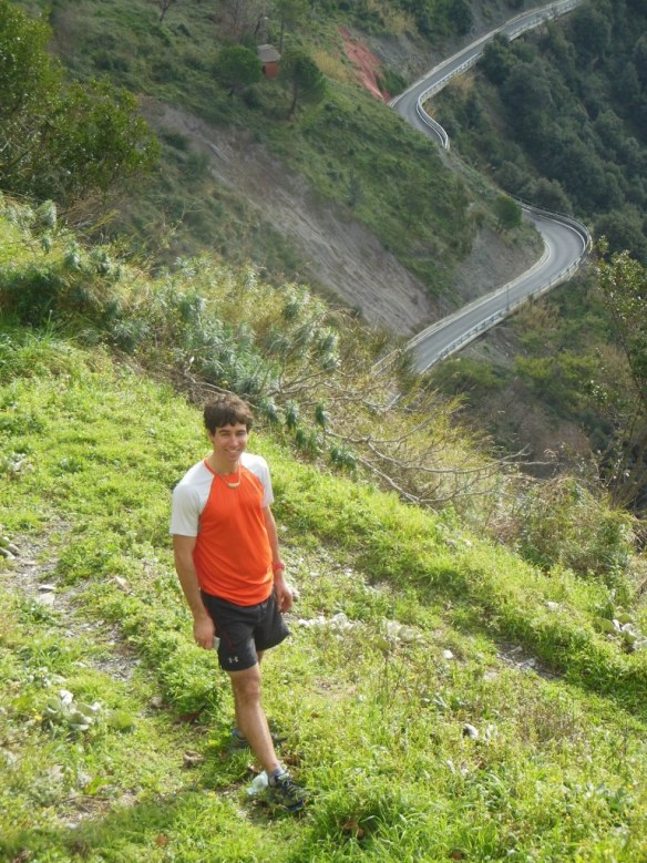 Noah Hoffman on Trail in Cinque Terre, Italy