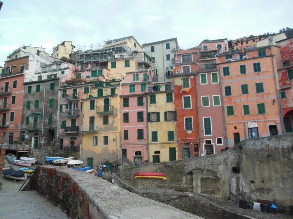 Colorful Wall of Homes in Riomaggiore, Italy