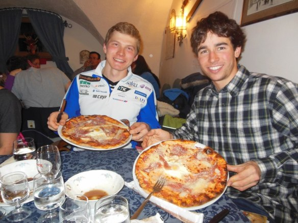 Noah Hoffman and Karel Tammjärv at Pizza in Predazzo