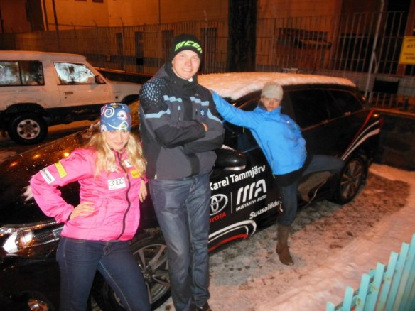 Jessie Diggins and Liz Stephen with Karel Tammjärv and his Car