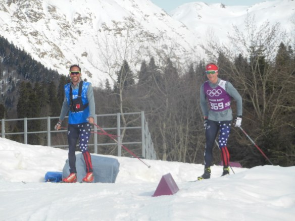 Erik Flora and Erik Bjornsen Skiing in Sochi 2014 Pre-50k Day