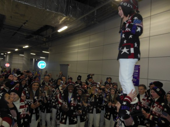 U.S. Olympic Figure Skaters Showing Off in Opening Ceremonies Staging Area