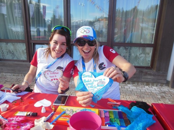 Amanda Ammar and Chandra Crawford doing Arts and Crafts in Sochi Olympic Village for Valentine's Day